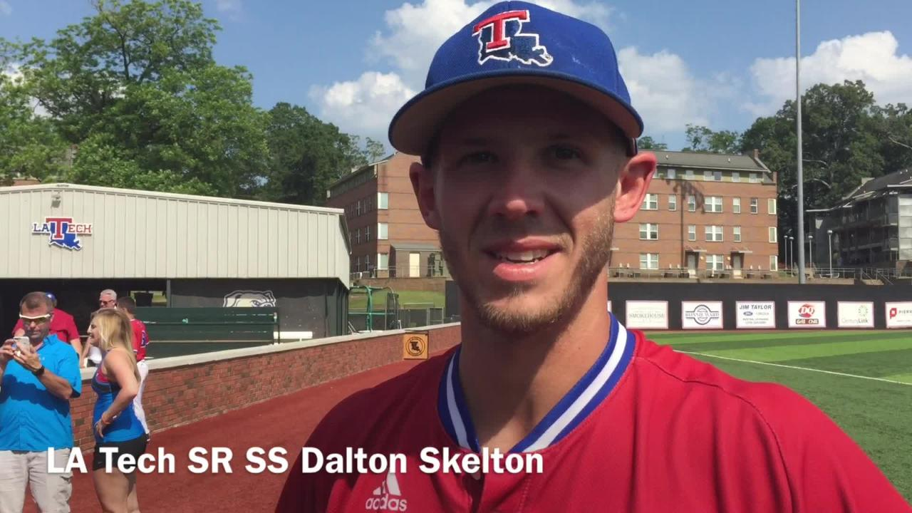 Louisiana Tech senior shortstop Dalton Skelton describes the dugout in the ninth inning of the Old Dominion game.