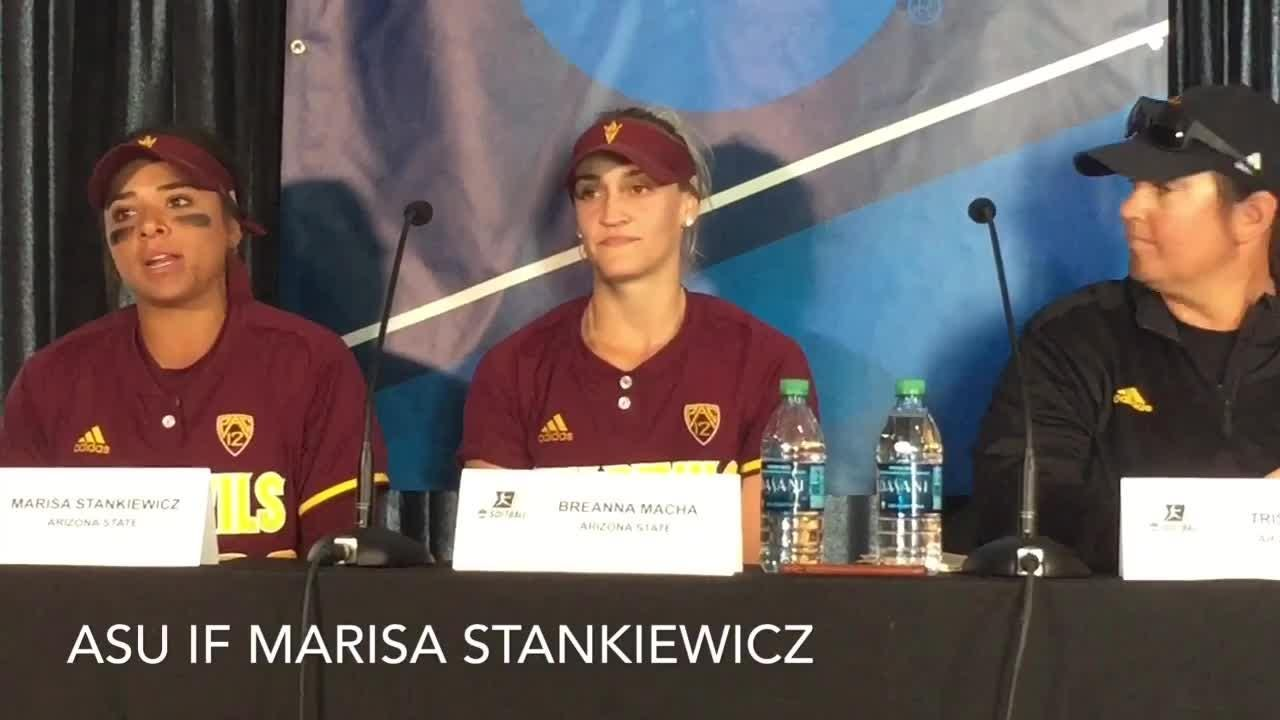 ASU coach Trisha Ford, Breanna Macha, Marisa Stankiewicz discuss their second straight NCAA regional win on Saturday.