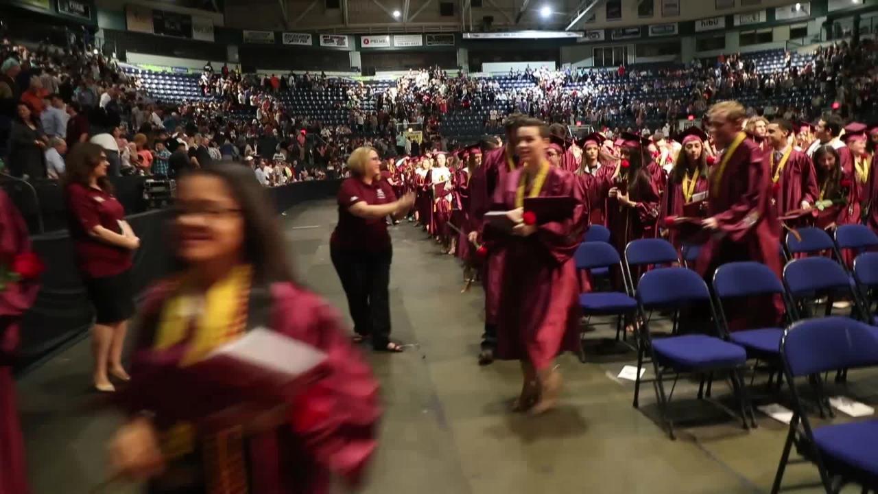 Commencement ceremonies of Riverdale High School graduation at Germain Arena