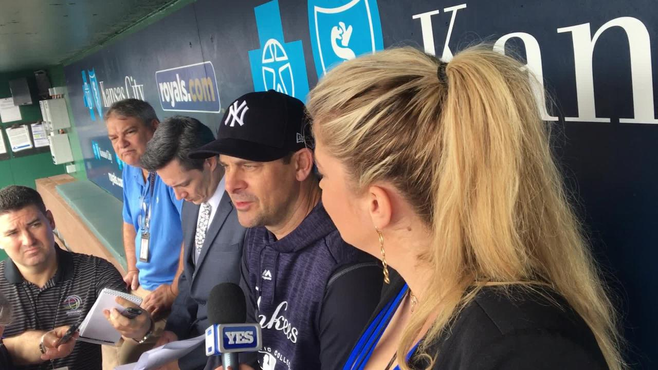 Yankees manager Aaron Boone talks about keeping Didi Gregorius and Gary Sanchez on the bench on Sunday.