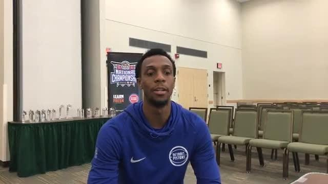 Detroit Pistons guard Ish Smith talks numbers at the NBA Math Hoops Championships at Wayne State on Sunday, May 20, 2018.