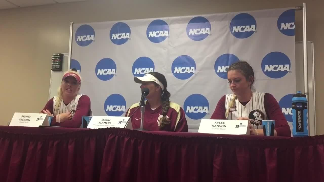 Video: Lonni Alameda, Kylee Hanson and Sydney Sherrill on FSU advancing to Super Regionals