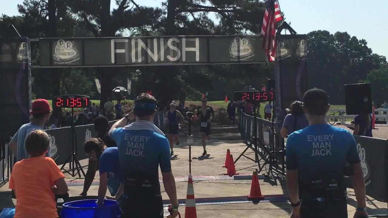 Highlights from the 2018 Memphis in May Triathlon, including the transitions, finish line and interviews with the top two male winners