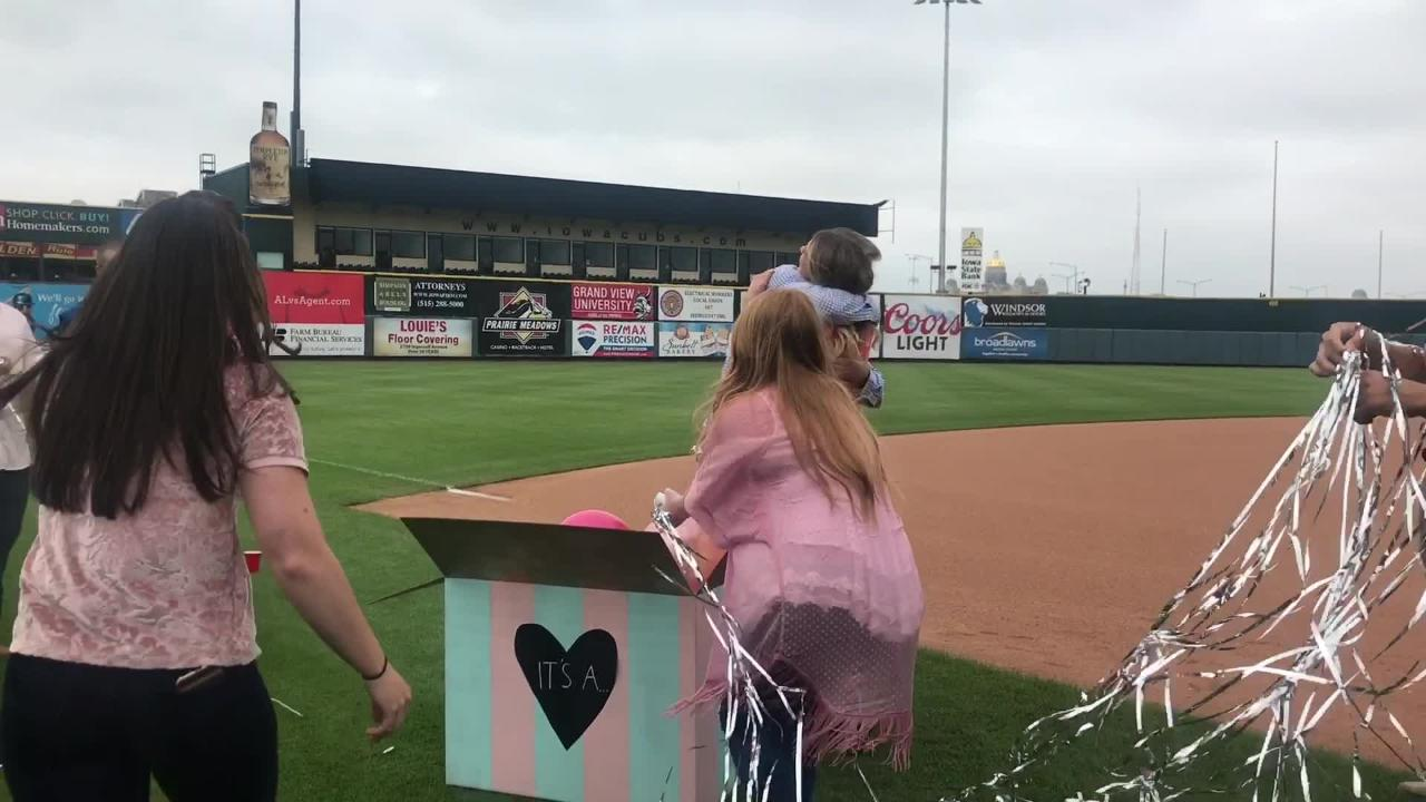 Iowa Cubs infielder Mike Freeman and his wife celebrated a gender reveal party at Principal Park Sunday