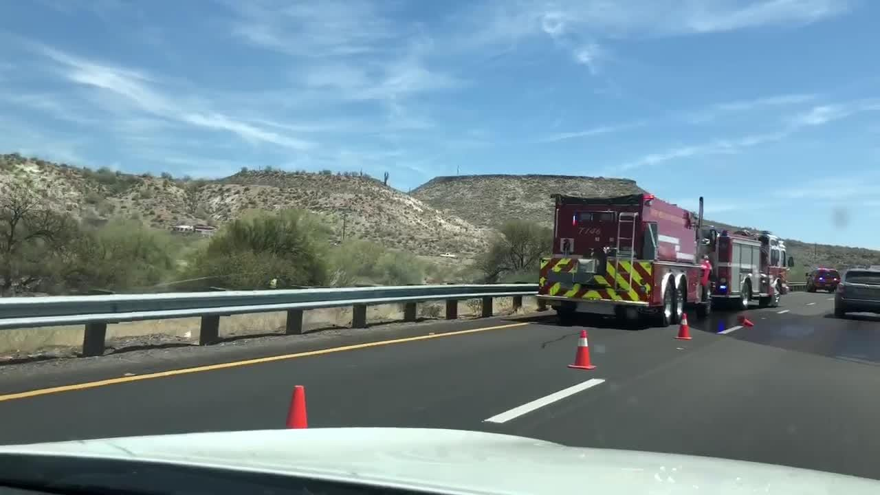A brush fire closed the left lanes of both northbound and southbound I-17 near Table Mesa Road at Milepost 236 on May 20, 2018.