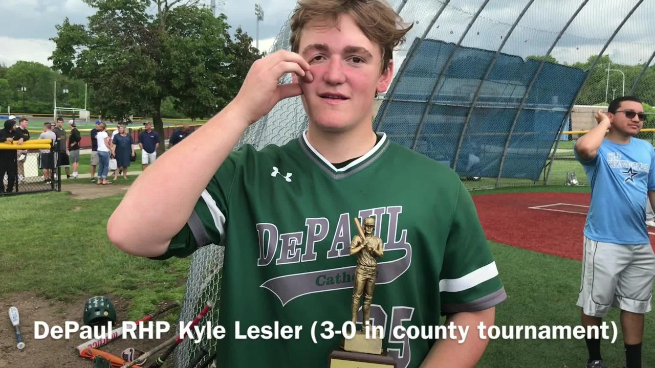 After allowing one earned run in 17 innings pitched in the Passaic County baseball tournament, DePaul's Kyle Lesler earns Bill Vacca Award as MVP.