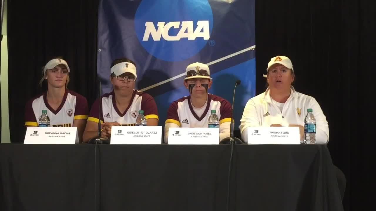 Coach Trisha Ford, Giselle Juarez, Breanna Macha, Jade Gortarez discuss ASU's 9-0 run-rule victory on Sunday.