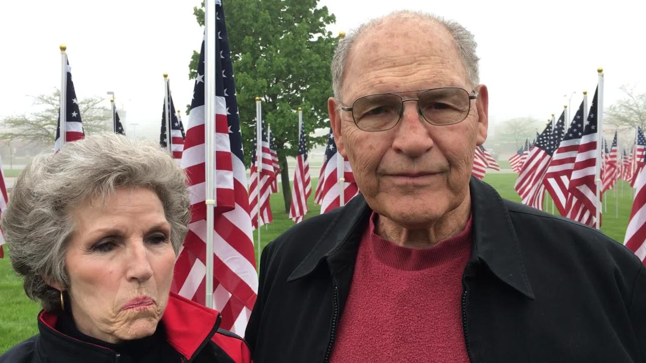 Tamara Morgan, Jerrianne Hayslett and her husband Hibbie Hayslett of the Rotary Club of Mitchell Field started Flags for Heroes in Oak Creek.