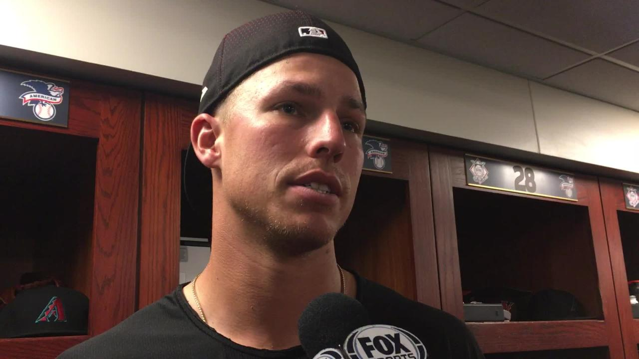 The Diamondbacks' Jake Lamb talks about his team's offensive struggles and his productive night at the plate.