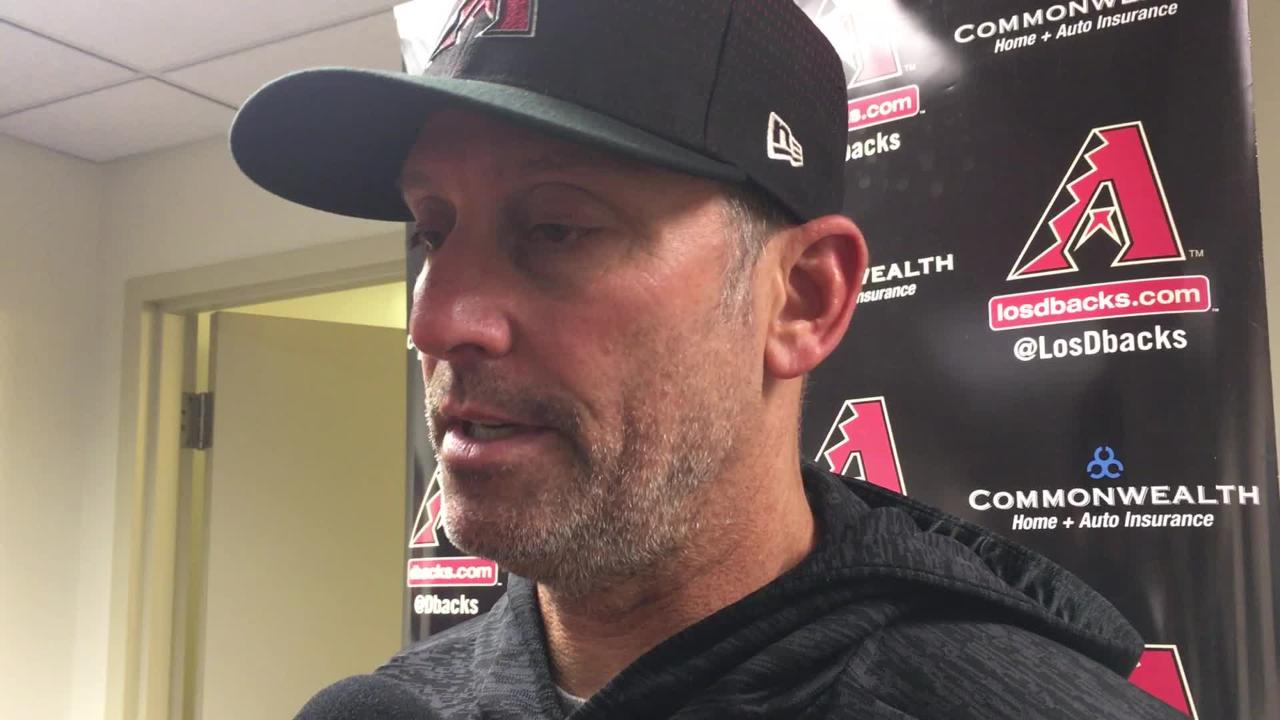 Diamondbacks manager Torey Lovullo talks about his team's inability to come up with a big hit in a loss to the Brewers on Monday.