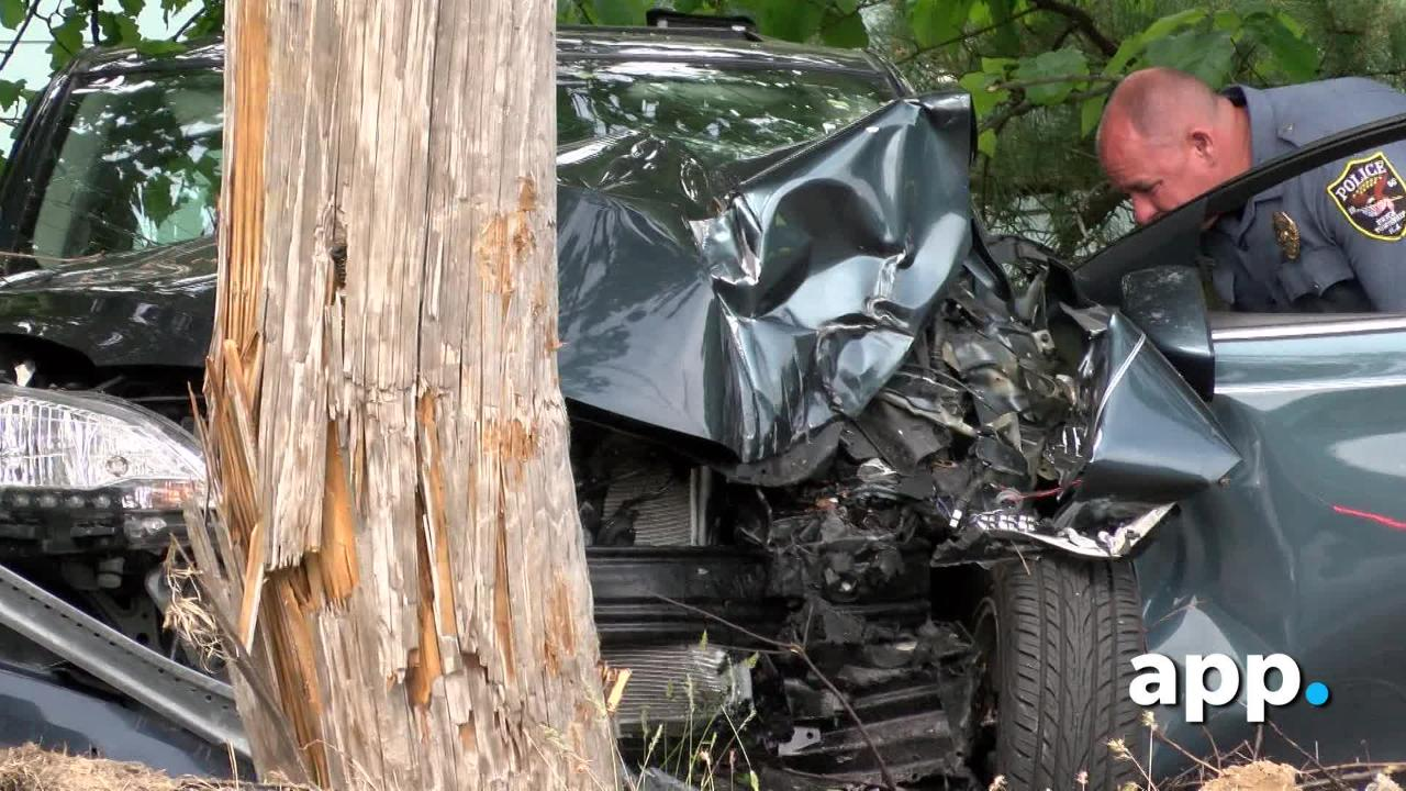 The female driver of a car was injured when her car left Herbertsville Road in Brick Township and damaged a utility pole.