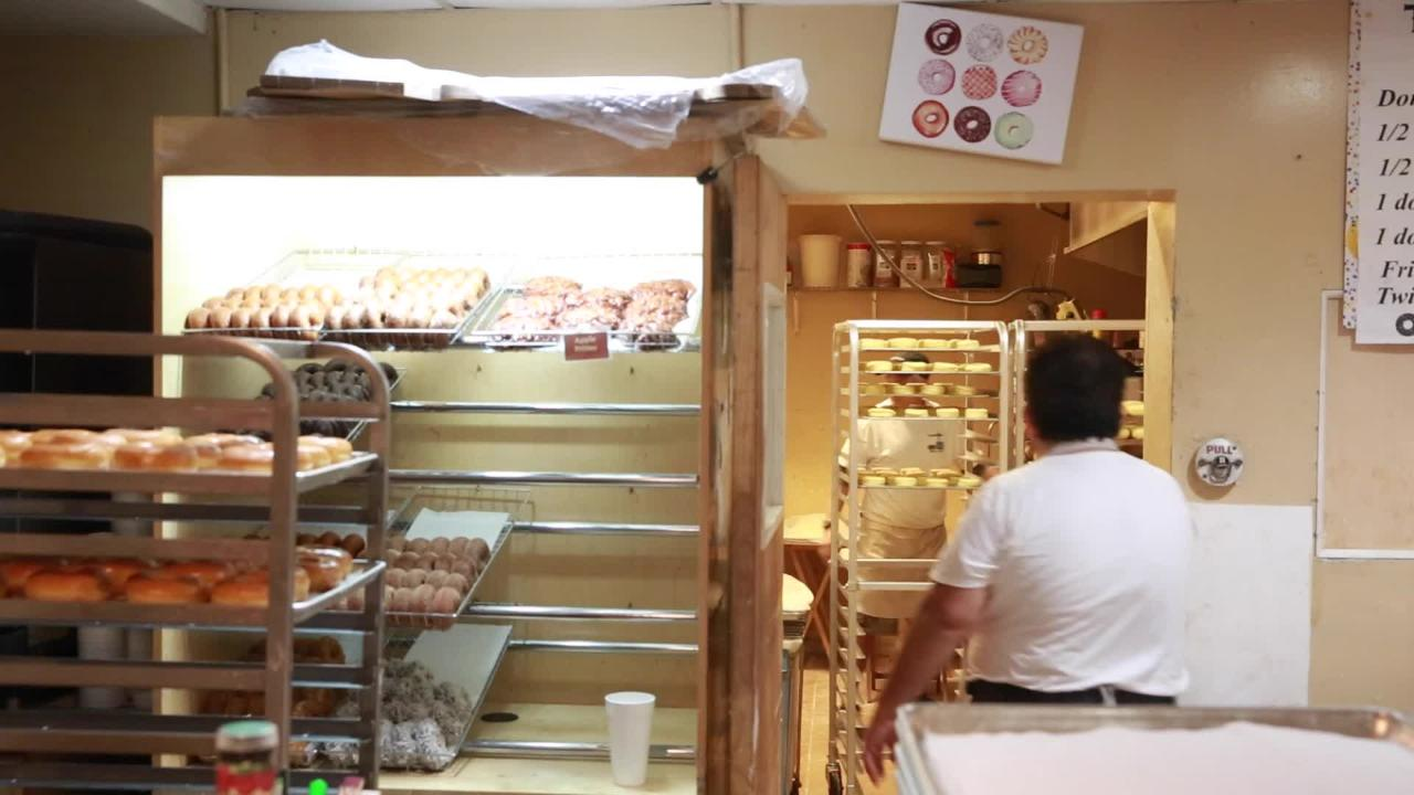 Donuts are made by hand during the night at Trackside Donuts & Cafe in Bonita Springs.