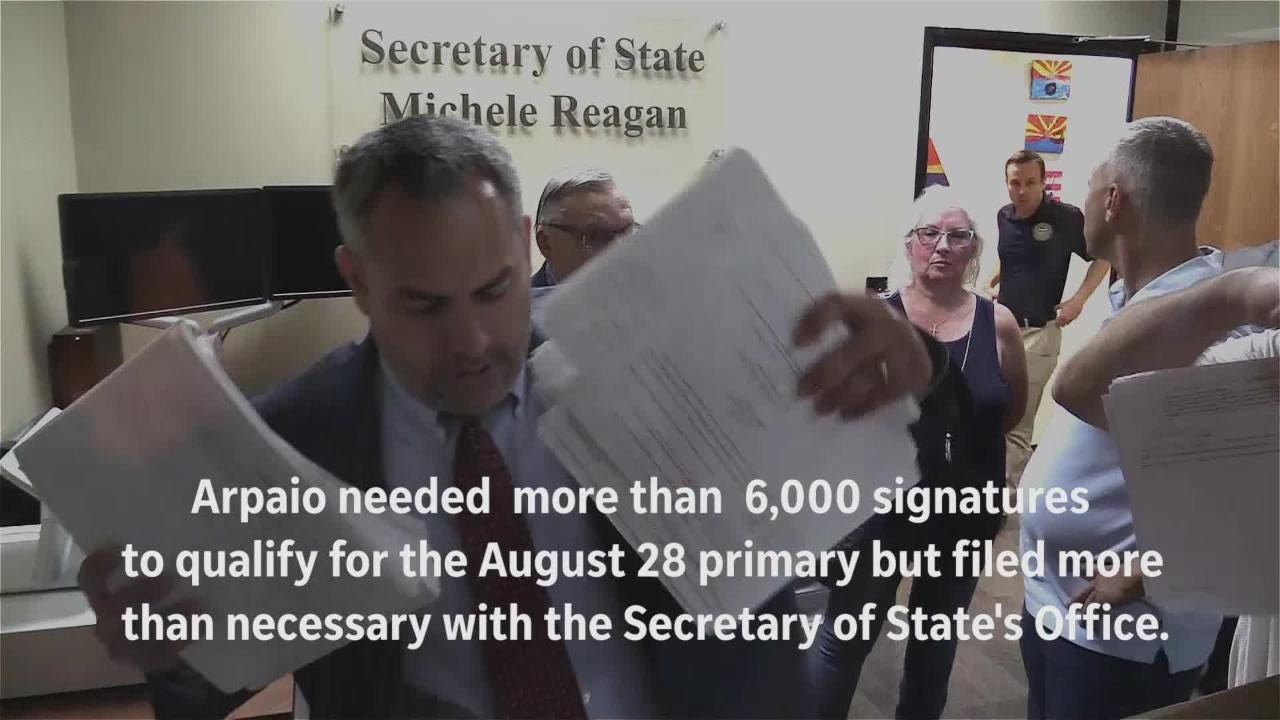 Former Maricopa County Sheriff Joe Arpaio turned in more than 10,000 signatures in Phoenix on May 22, 2018, for the Republican primary for Senate.