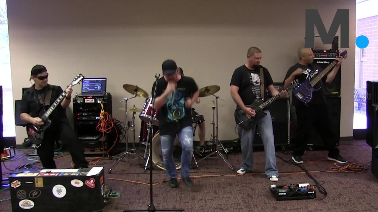 """Metal band CloZure from Enterprise rocks out with original song """"Perfect Villain"""" at the Montgomery Advertiser."""