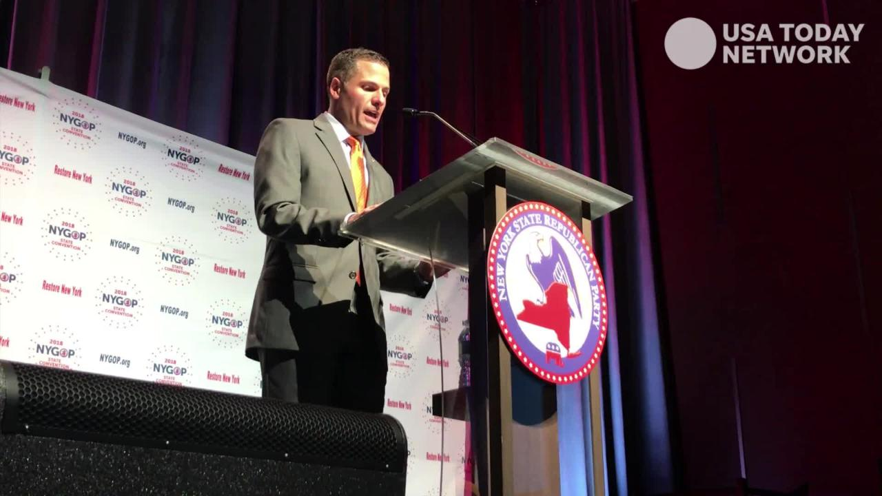 Dutchess County Exeuctive Marc Molinaro accepted the Republican Party's designation for governor at the Ziegfeld Ballroom in Manhattan on May 23, 2018.