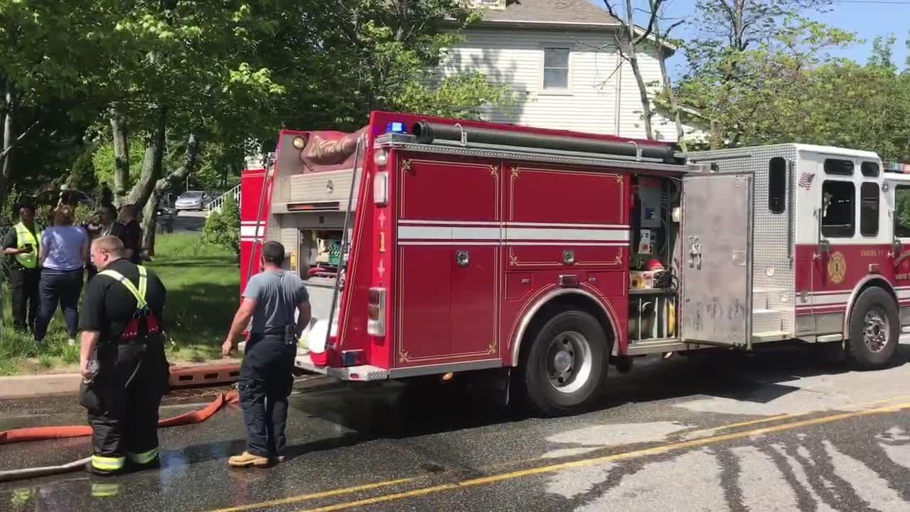 Raw video: School bus fire in Wayne