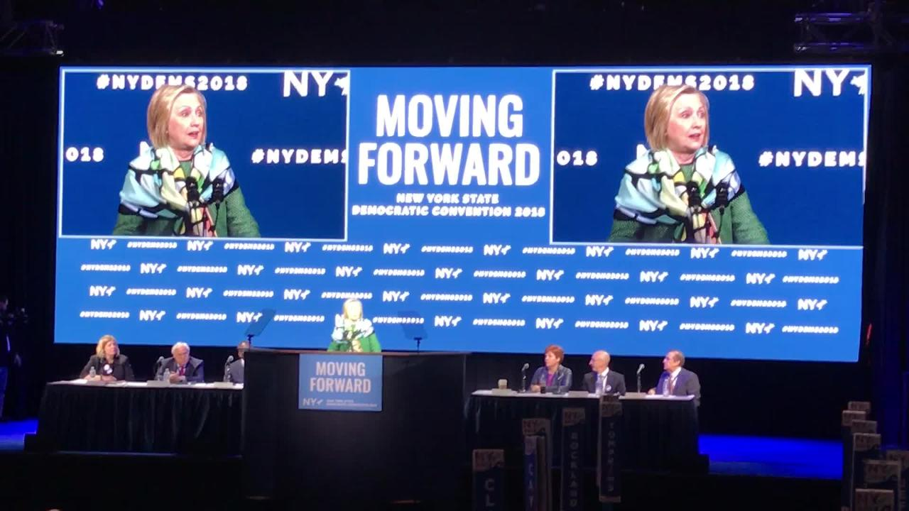 Hillary Clinton spoke at NY Democratic convention on Long Island on May 23, 2018, on Long Island as she endorsed Gov. Andrew Cuomo for a third term.