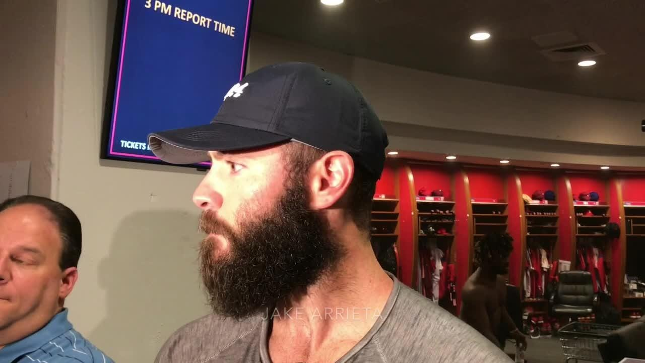 Phillies pitcher Jake Arrieta after leading the team to a 4-0 win over the Atlanta Braves on Wednesday.
