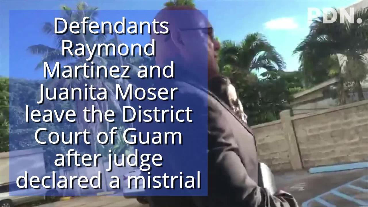 Defendants Raymond Martinez and Juanita Moser leave the District Court of Guam Thursday May 24, 2018 after the judge declared a mistrial. Jurors in the case could not reach a unanimous decision.