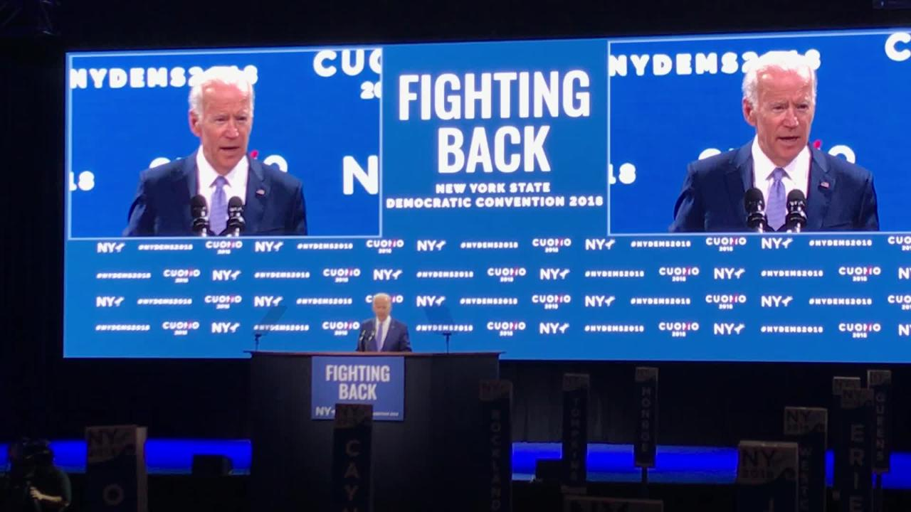 Joe Biden praises Andrew and Mario Cuomo at the Democratic convention on Thursday, May 24, 2018 as he introduced the younger Cuomo.
