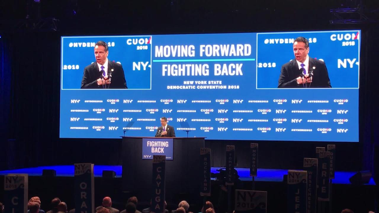 Gov. Andrew Cuomo touted progressive New York policies at state convention on  May 24, 2018 on Long Island.