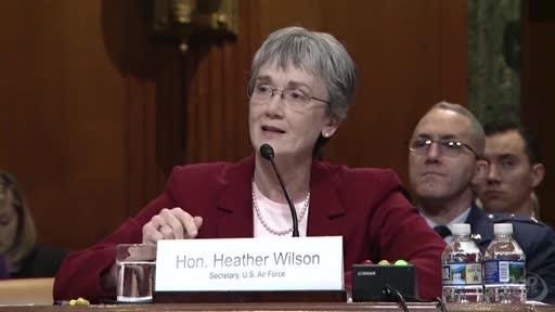 Air Force Secretary Heather A. Wilson and Chief of Staff Gen. David L. Goldfein testify on the Air Force's fiscal year 2019 funding request and budget justification at a hearing of the Senate Appropriations Committee's defense subcommittee, May 17, 2018.