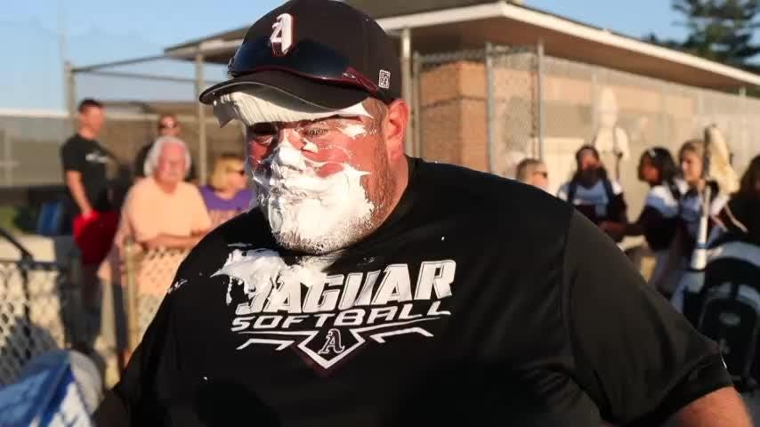 The Jaguars' Brian Timpson caught a face full of shaving cream after his team's semifinal win.