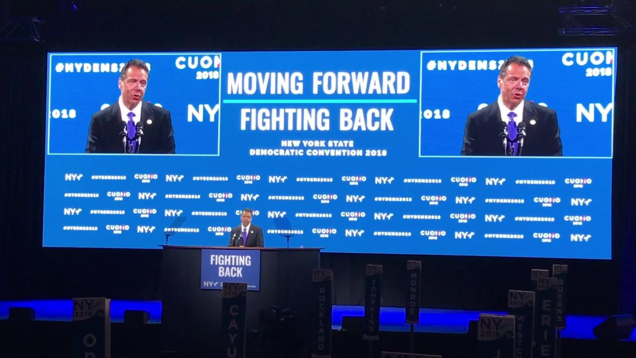 "Gov. Andrew Cuomo was criticized by GOP opponent Marc Molinaro for joking Chris Cuomo has ""development issues"" at Democratic convention May 24, 2018."