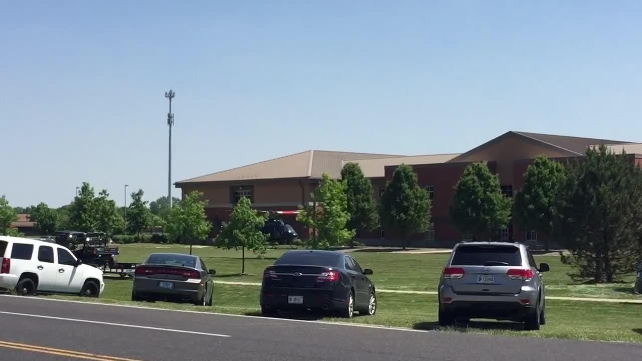 Indiana State Police helicopter takes off from Noblesville West Middle High School.