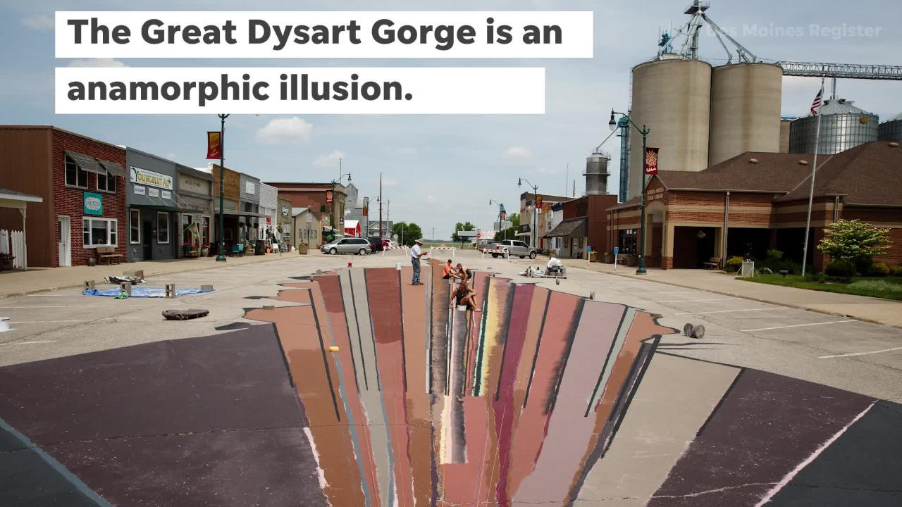 The Great Dysart Gorge, an anamorphic illusion, is being painted on Dysart's Main street to help bring more people into downtown.