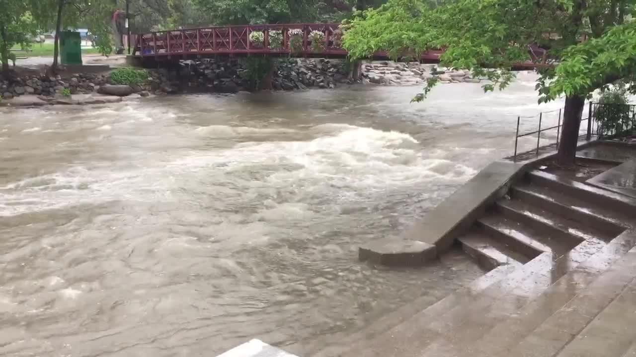 Truckee River runs high in Reno as rain pours down