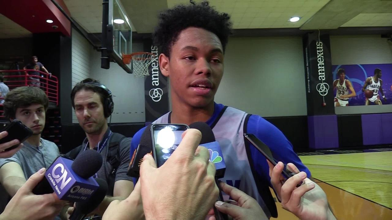 IMG Academy guard Anfernee Simons during the Phoenix Suns pre-draft workout on May 28, 2018 at Talking Stick Resort Arena in Phoenix, Ariz.