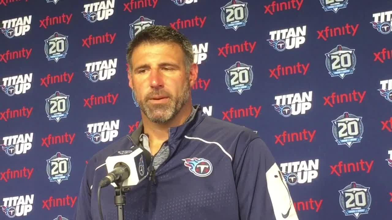 """Titans coach Mike Vrabel said his players have the """"entire organization's support"""" to remain in the locker room during the pre-game national anthem."""