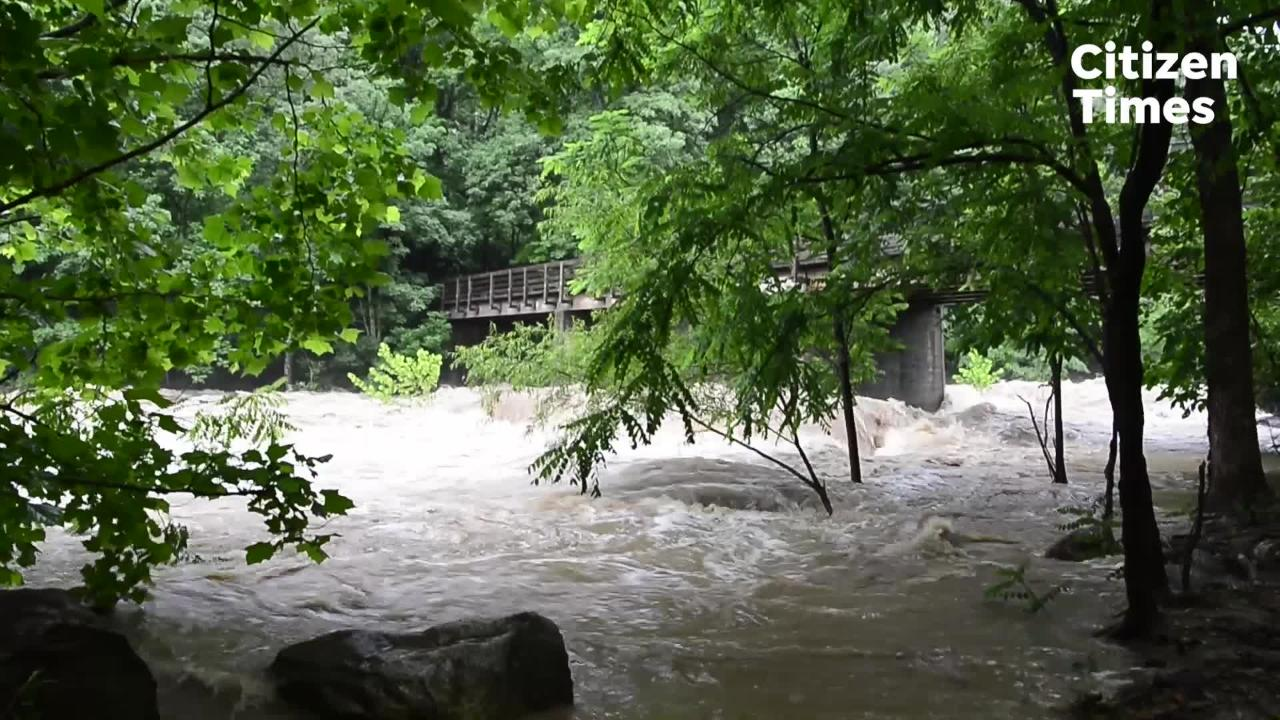 Scenes from along the Rocky Broad River in Chimney Rock, flooded from heavy rainfall throughout the region.
