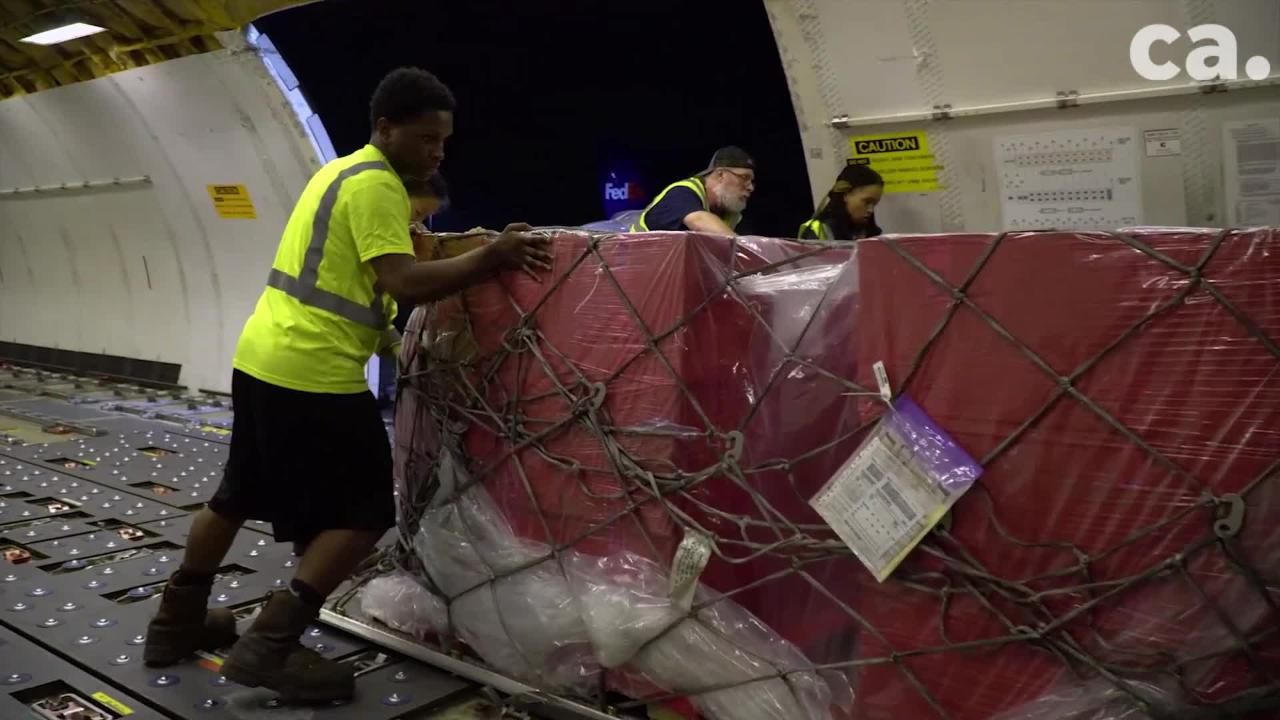Video of FedEx preparing their shipment of equipment to help fight Ebola in Africa.