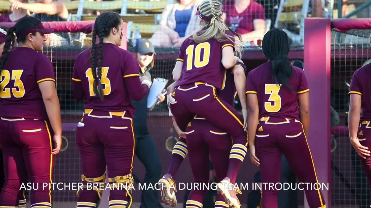 ASU pitcher Breanna Macha shows off her moves during player introduction