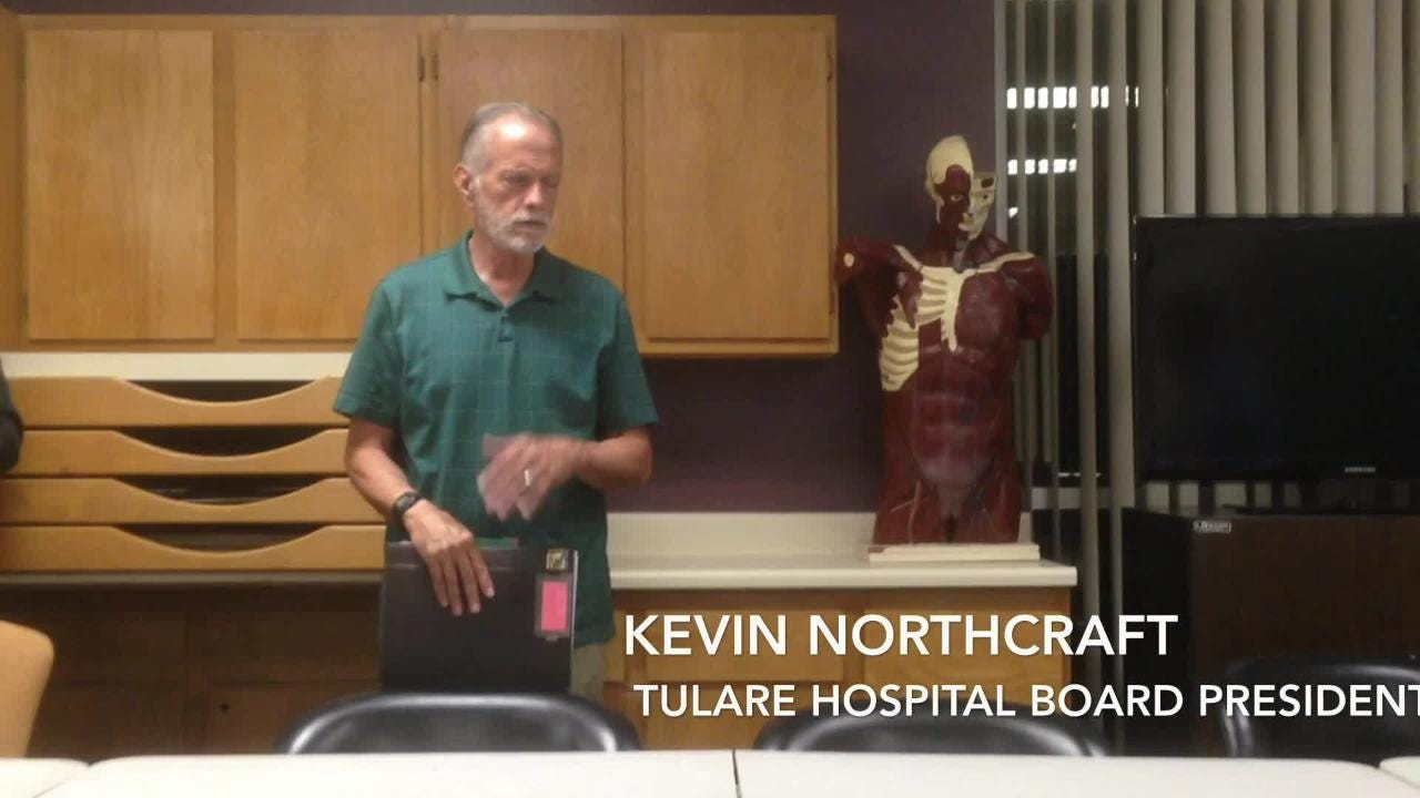 Kevin Northcraft, Tulare hospital board president, announces settlement on two lawsuits
