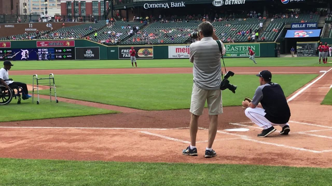 Dakarai Moore II throws ceremonial 1st pitch to Tigers' Matthew Boyd on May 31, 2018. Moore contracted a bacterial disease in '16, had legs amputated.