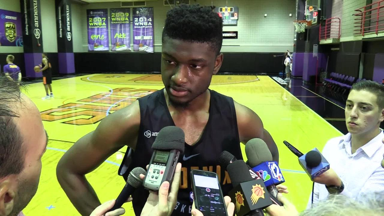 USC center Chimezie Metu comments on his pre-draft workout for the Phoenix Suns on May 31, 2018 at Talking Stick Resort Arena in Phoenix, Ariz.