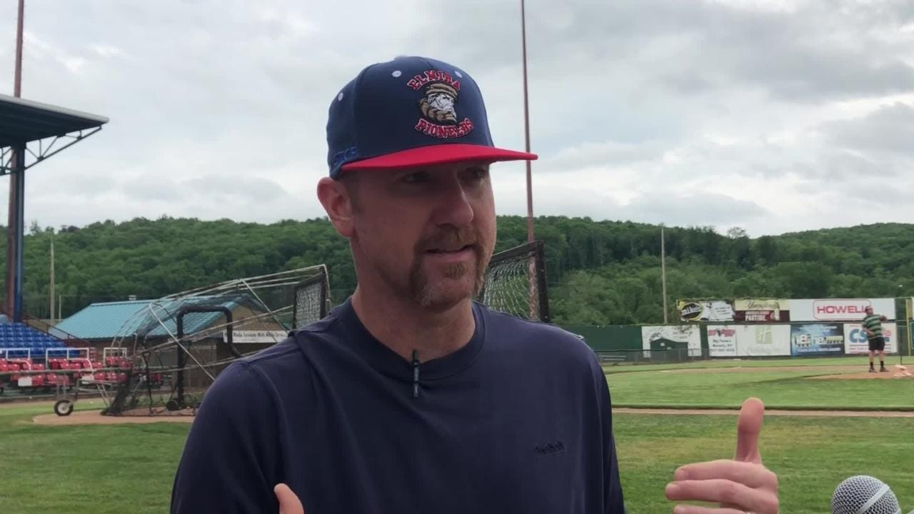 Elmira Pioneers manager Matt Burch discusses returning for third stint as manager, history of the team during Media Day on May 31 at Dunn Field.