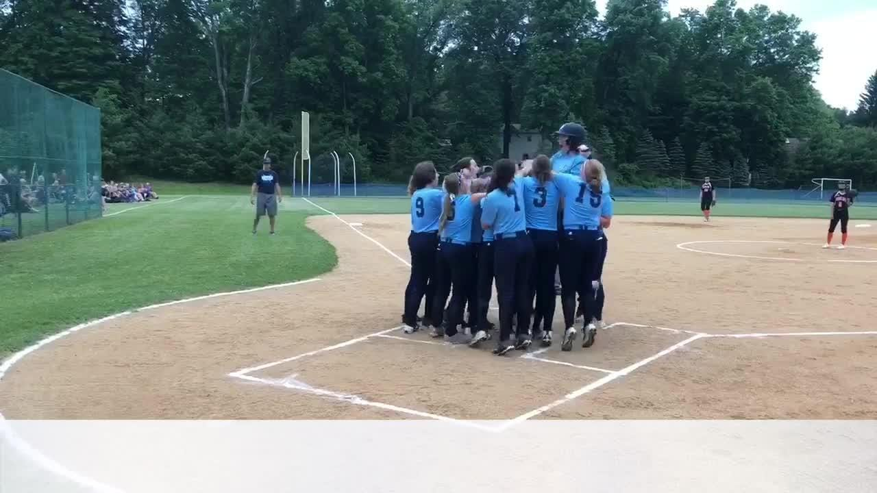The Pine Plains softball team reacts after coming from behind to beat Pawling in a Class C regional semifinal on Thursday.
