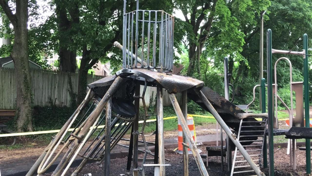 A fire burned a playground in Somerville on Friday. The cause was determined to be a mulch fire.