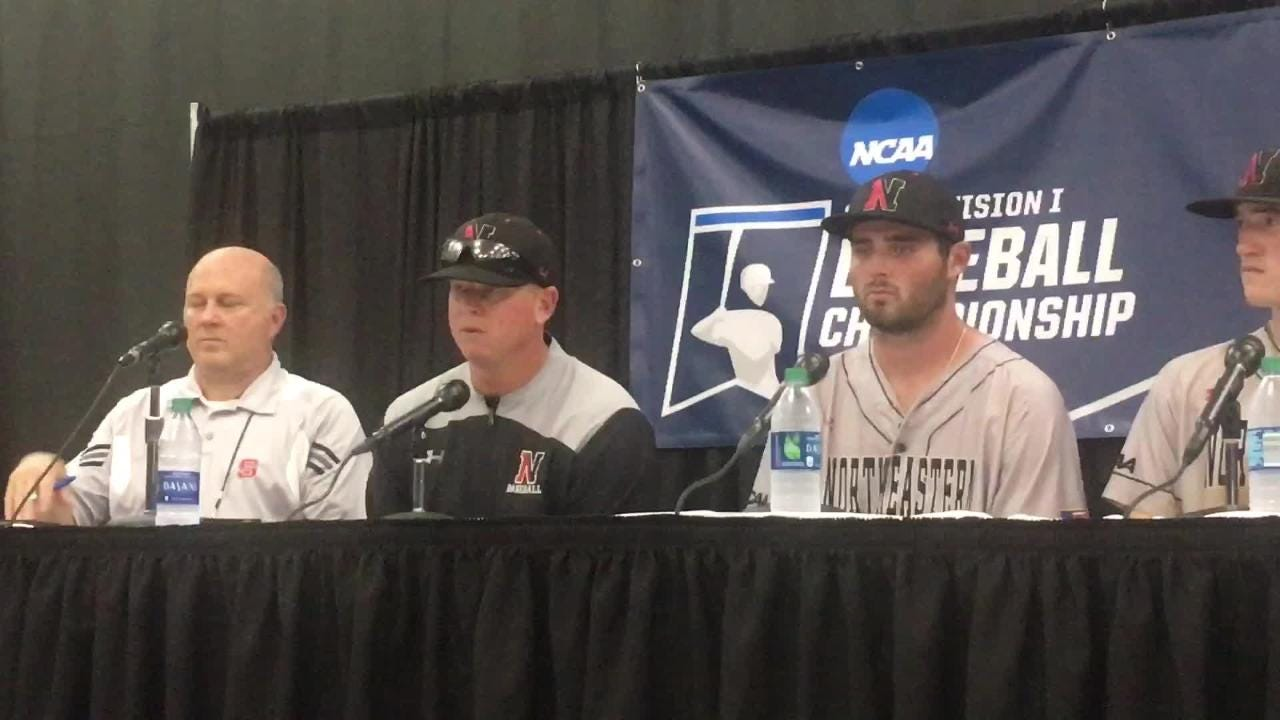 Northeastern coach Mike Glavine and players after NCAA Regional loss to Auburn.