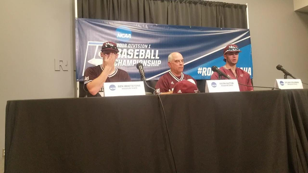 Missouri State's Keith Guttin. Ben Whetstone and Dylan Coleman address the media after a 6-4 loss to Tennessee Tech.
