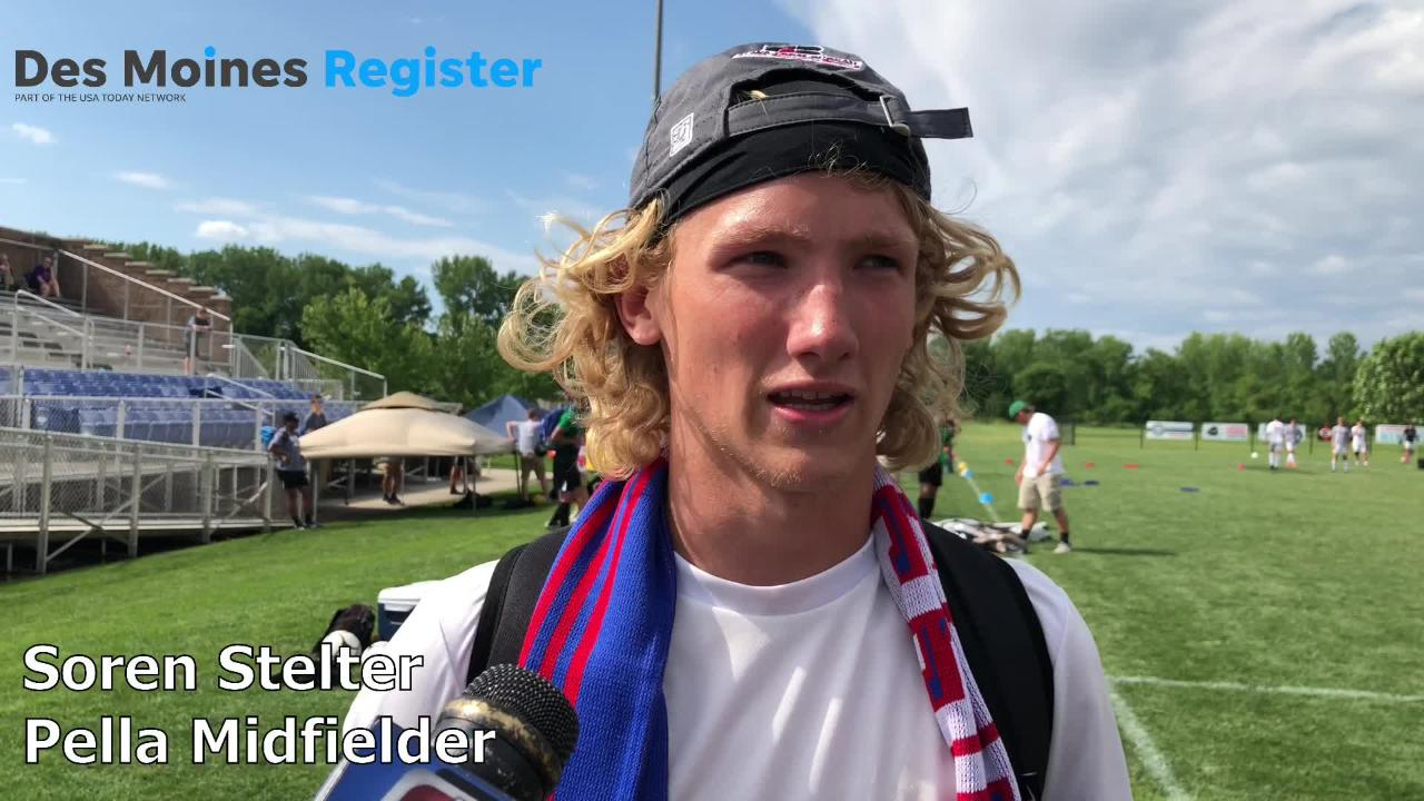 Soren Stelter, Pella's senior midfielder, scored the game-winning goal to help the Dutch to a 3-2 win over Storm Lake in the Class 2A state soccer title game.
