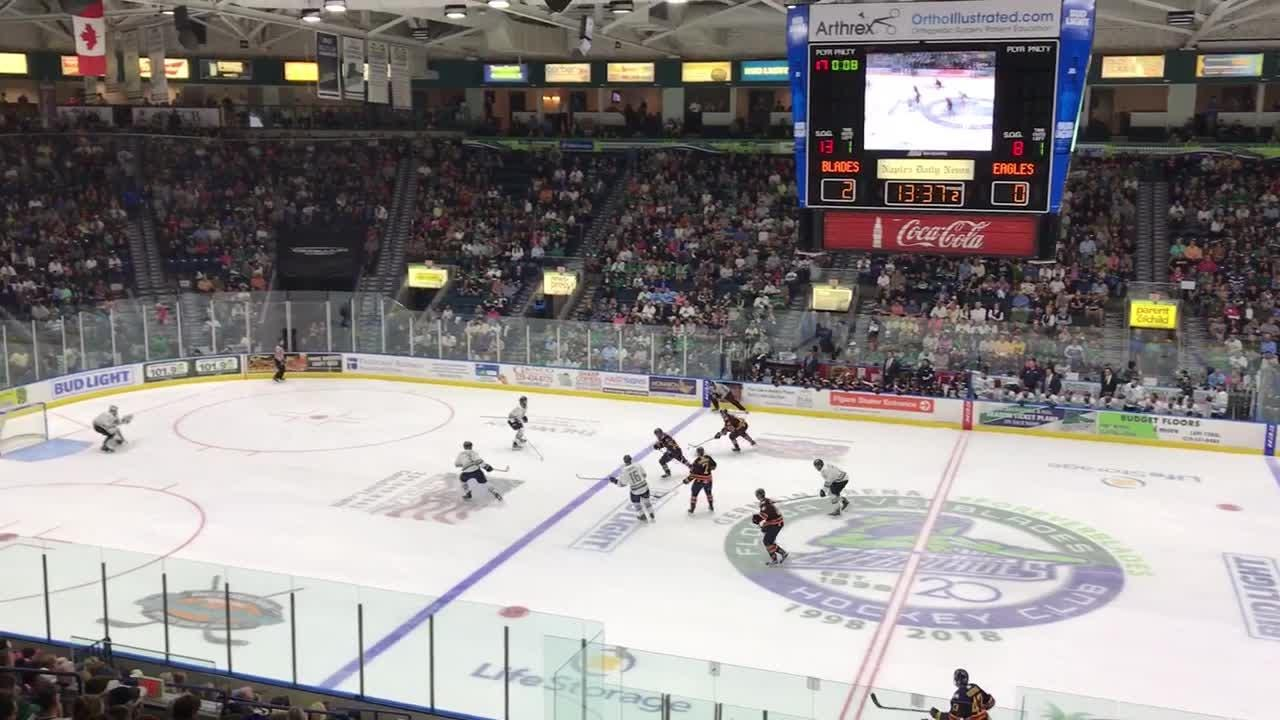 Everblades' goalie Martin Ouellette makes one of his 24 saves on the night