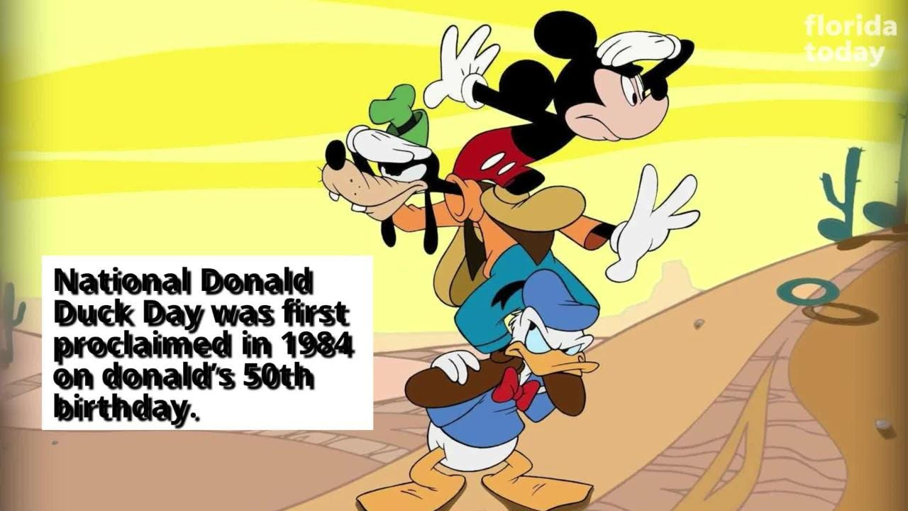 Disney character Donald Duck made his first screen debut on June 9, 1934. June 9 is National Donald Duck Day