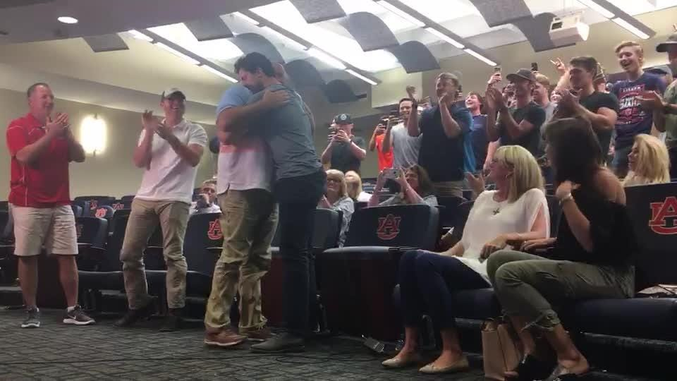 Casey Mize, his family and the Auburn Tigers team react to Mize being picked No. 1 by Detroit Tigers in 2018 MLB draft June 4 on the Auburn campus.