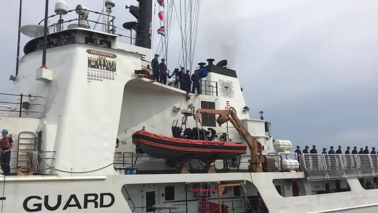 The Coast Guard Cutter Decisive arrives at its new home port at Pensacola Naval Air Station on Tuesday, June 5, 2018.