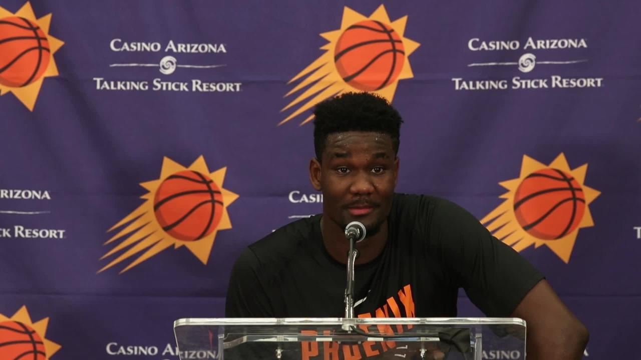 Deandre Ayton talks with the media after his workout with the. Phoenix Suns.